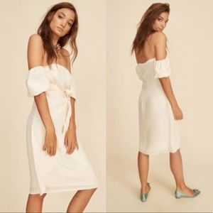 LPA Puff Sleeve Tie Front Dress
